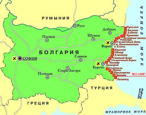 Пляжи Болгарии видео, карта Болгарии