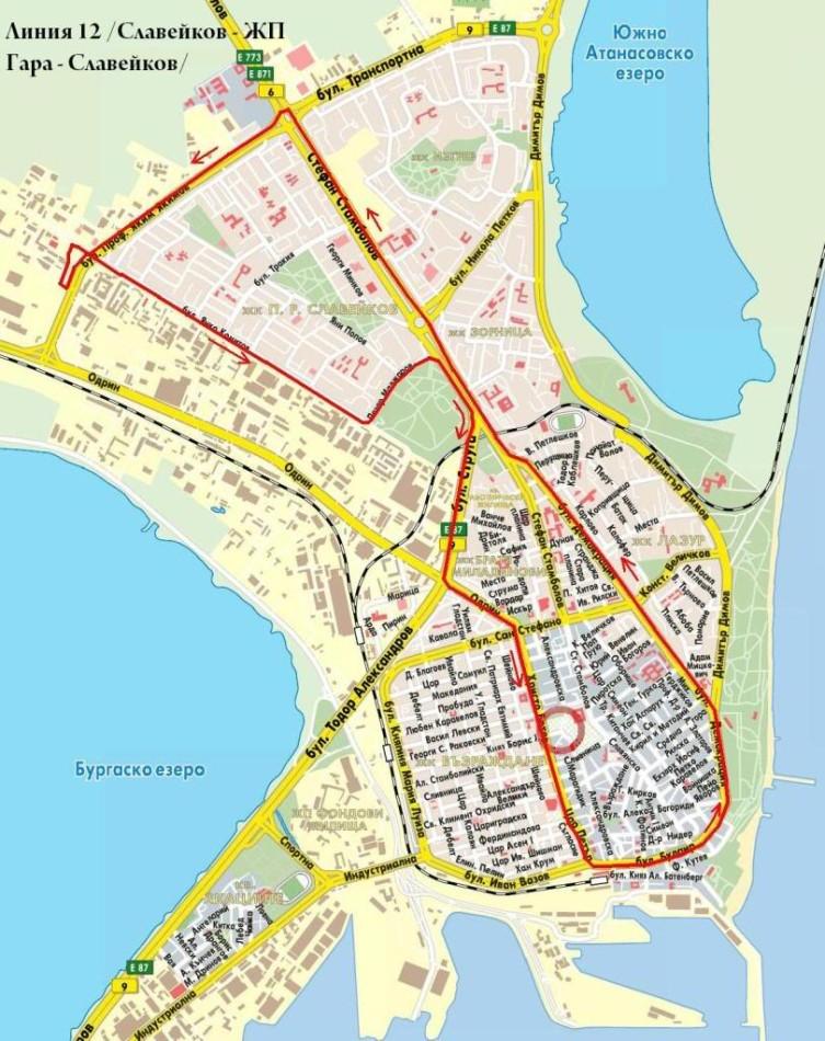 бургас карта транспорта в городе бургас болгария