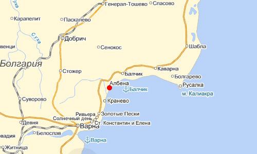 город албена на карте болгарии
