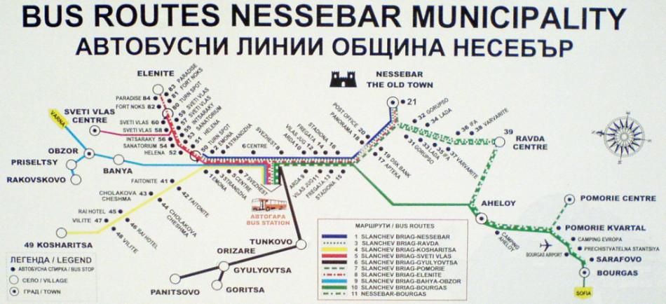 несебр маршруты автобусов