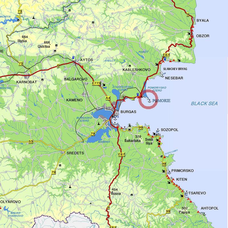 Карта - Поморие