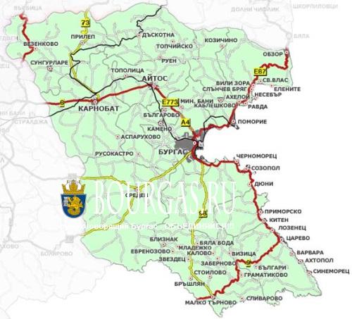 Karta Burgasskoj Oblasti Burgas I Turisticheskaya Bolgariya