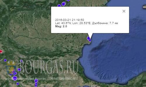 Землетрясение в болгарском городе Шабла