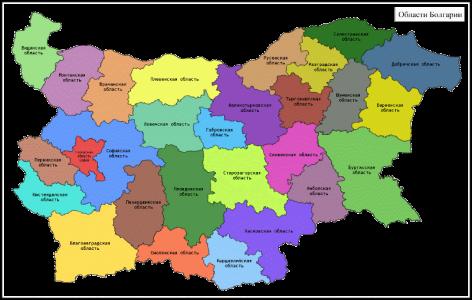 Карта областей Болгарии