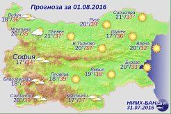 1 августа 2016 года погода в Болгарии
