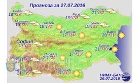 27 июля 2016 года погода в Болгарии