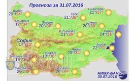 31 июля 2016 года погода в Болгарии