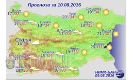 10 августа 2016 года Погода в Болгарии