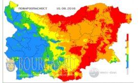 10 августа 2016 года Пожарная опасность в Болгарии