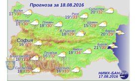 18 августа 2016 года Погода в Болгарии