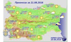 21 августа 2016 года Погода в Болгарии