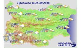 25 августа 2016 года Погода в Болгарии