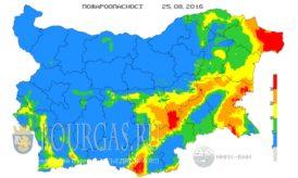 25 августа 2016 года Пожарная опасность в Болгарии