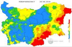 26 августа 2016 года Пожарная опасность в Болгарии