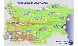 28 июля 2016 года погода в Болгарии