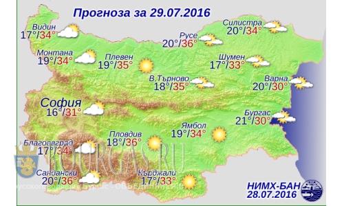29 июля 2016 года погода в Болгарии