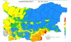 30 августа 2016 года Пожарная опасность в Болгарии