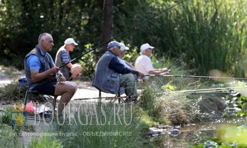 5 августа 2016 года, Болгария, София, рыболовы спасаются от жары в Южном парке