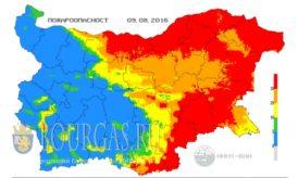 9 августа 2016 года Пожарная опасность в Болгарии