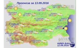 13 сентября 2016 года Погода в Болгарии