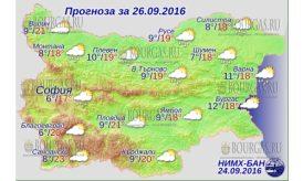 26 сентября 2016 года Погода в Болгарии