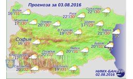 3 августа 2016 года погода в Болгарии