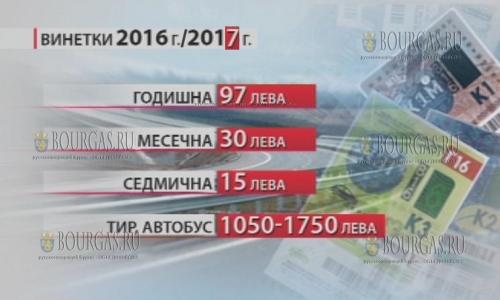 цены на виньетки в Болгарии в 2017 году