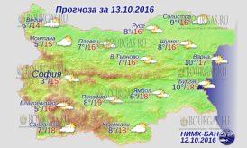 13 октября 2016 года, погода в Болгарии