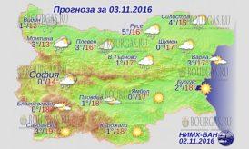 3 ноября 2016 года, погода в Болгарии