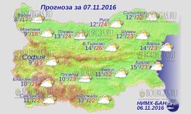 7 ноября 2016 года, погода в Болгарии