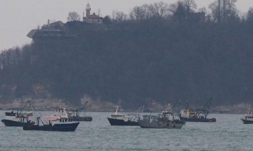 5 января 2017 года, Варна - акватория Варненского залива, протест местных рыбаков против действий Исполнительного агентства по рыболовству и аквакультуре