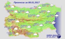 8 января 2017 года, погода в Болгарии