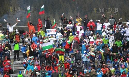 5 февраля 2017 года, Банско, этап кубка Мира по сноуборду - болельщики поддерживают спортсменов