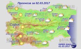 2 марта 2017 года, погода в Болгарии
