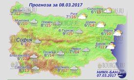 8 марта 2017 года, погода в Болгарии