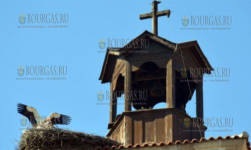 12 апреля 2017 года, Банско, пара аистов построило гнездо на крыше часовни храма Святой Троицы