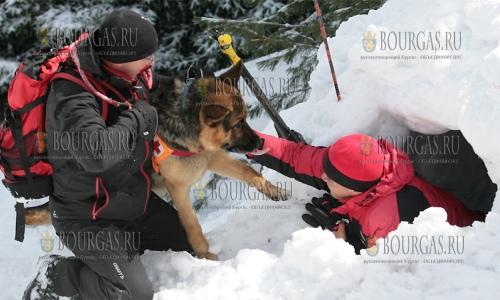 20 апреля 2017 года, горы Витоша, горноспасательная служба отрабатывала посик пострадавших после схода лавины