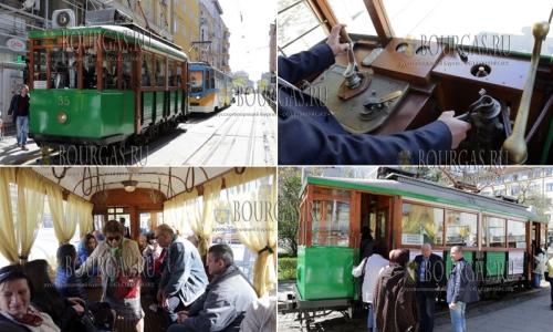 3 апреля 2017 года, София, по улицам города по случаю 138-ой годовщины со дня объявления Софии столицей - горожан перевозит ретро-трамвай