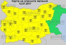12 июля 2017 года, горячий Желтый код в Болгарии