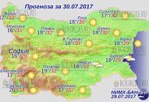 30 июля 2017 года, погода в Болгарии