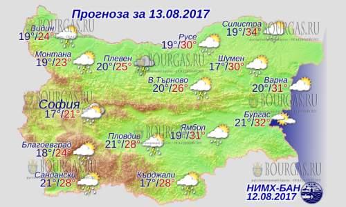 13 августа 2017 года, погода в Болгарии