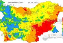 17 августа 2017 года, пожароопасность в Болгарии