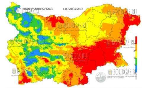18 августа 2017 года, пожароопасность в Болгарии