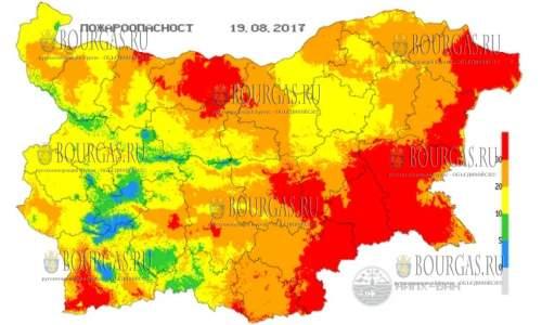 19 августа 2017 года, пожароопасность в Болгарии