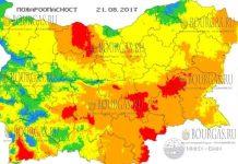 21 августа 2017 года, пожароопасность в Болгарии