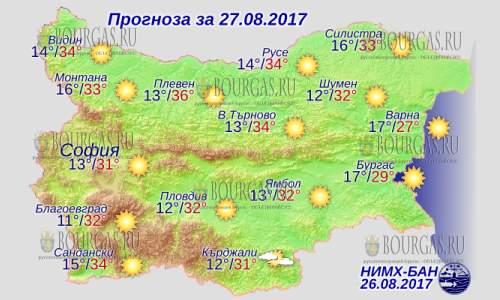 27 августа 2017 года, погода в Болгарии