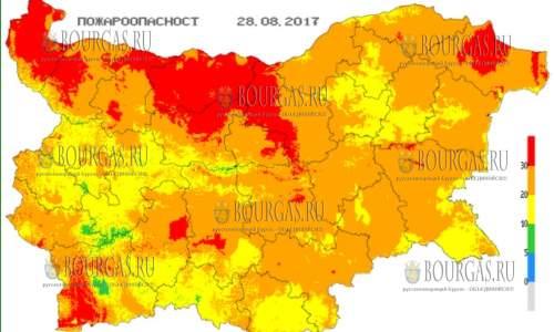 28 августа 2017 года, пожароопасность в Болгарии