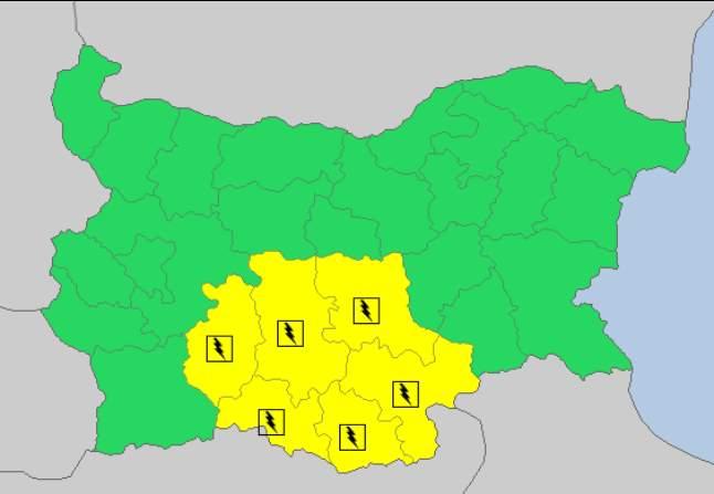29 августа 2017 года, дождевой и грозовой Желтый код в Болгарии