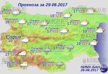 29 августа 2017 года, погода в Болгарии