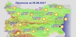 5 августа 2017 года, погода в Болгарии